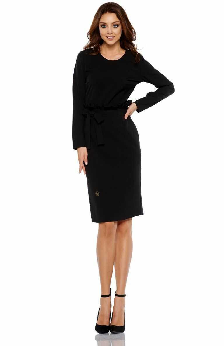Biznesowa sukienka z paskiem L289 czarny