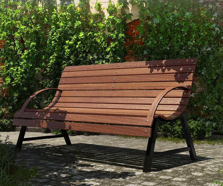 Drewniana ławka z oparciem Wagris 140 cm - orzech