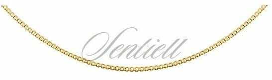 Łańcuszek ozdobny srebrny pr. 925 kostka wenecka, diamentowana ø 010 - pozłacany - żółte złoto