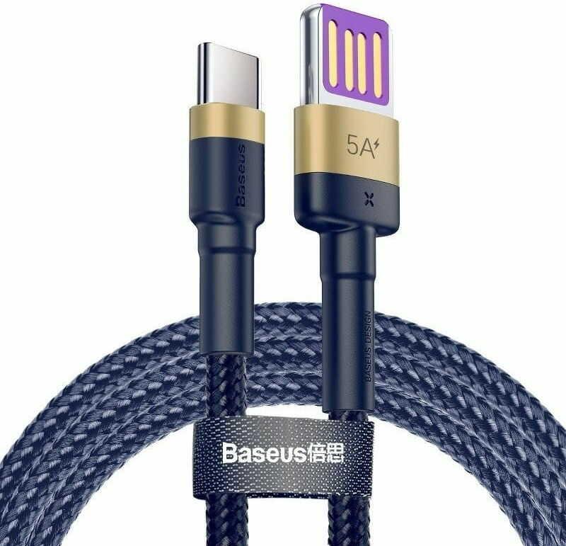 Kabel USB-C Baseus Cafule Huawei SuperCharge, QC 3.0, 5A 1m (granatowo-złoty)