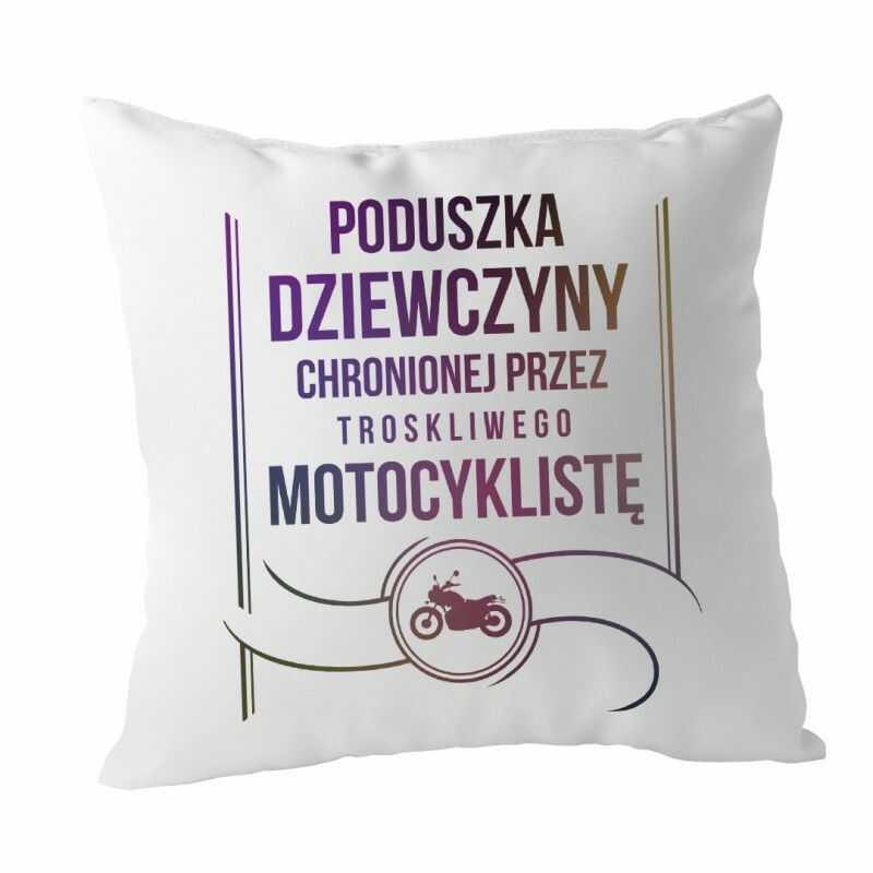 Poduszka dziewczyny chronionej przez troskliwego motocyklistę - poduszka z nadrukiem