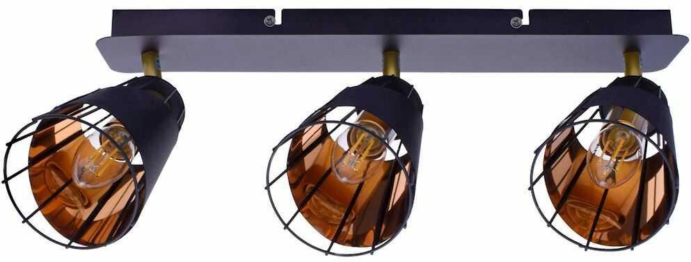 Milagro RICK ML5567 listwa oświetleniowa nowoczesna metalowy klosz z drucianymi elementami czarny 3xE14 43cm