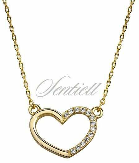 Srebrny naszyjnik pozłacany pr.925 serce z cyrkoniami - żółte złoto