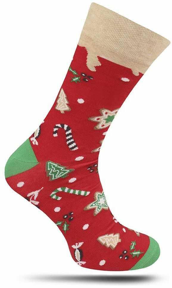 Skarpetki Świąteczne, Czerwone, Merry Christmas, Choinki, Gwiazdki, Rózgi -MORE- Męskie SKMORE230079SWEETCHRISTMASczerwien