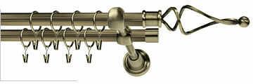 Karnisze Podwójne Ryflowane TWIST RYFEL 16/16mm antyk mosiądz