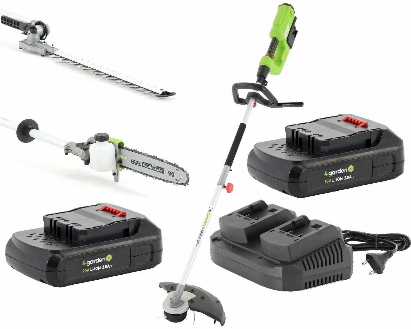 Urządzenie wielofunkcyjne AK22MULTI 4GARDEN Akumulatorowe: kosa + podkaszarka + nożyce do żywopłotu + okrzesywarka do gałęzi + 2x Akumulator 2,0 Ah + Ładowarka podwójna