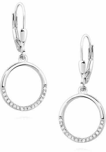 Eleganckie rodowane srebrne wiszące kolczyki celebrytki kółka circle ring cyrkonie srebro 925 Z1456D
