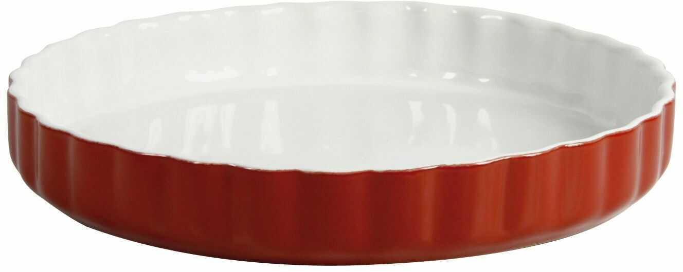 Crealys 512735 forma do ciasta owocowego, ceramiczna, 28 cm, malina