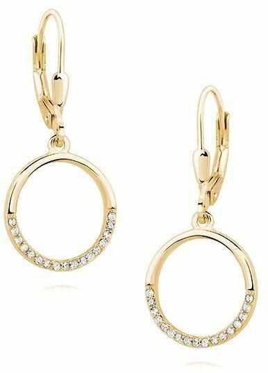 Eleganckie pozłacane srebrne wiszące kolczyki celebrytki kółka circle ring cyrkonie srebro 925 Z1456D_G