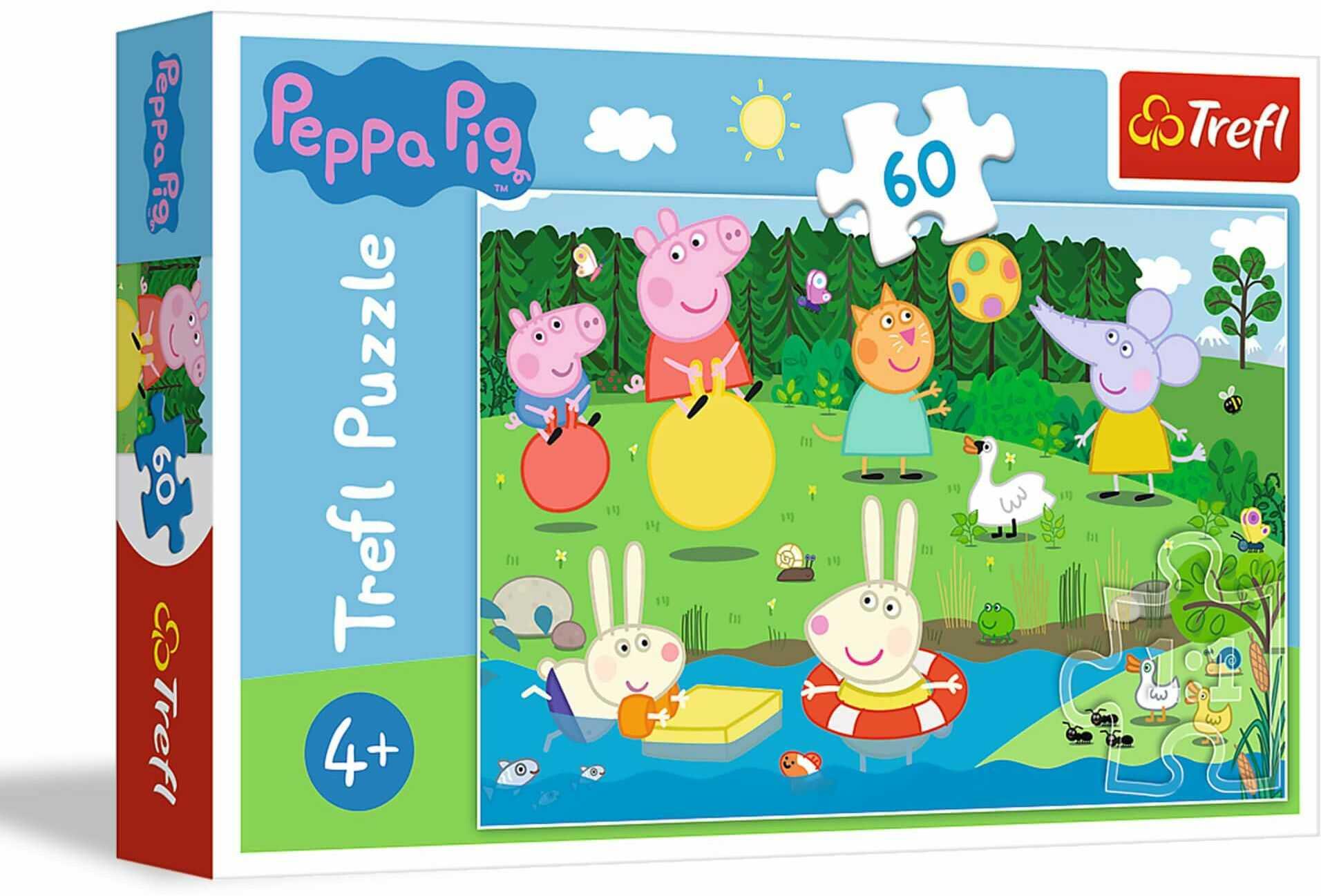 Trefl Wakacyjna Zabawa Puzzle 60 Elementów Peppa Pig o Wysokiej Jakości Nadruku dla Dzieci od 4 lat