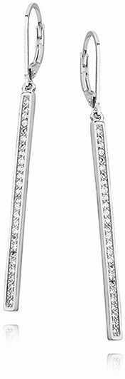 Eleganckie rodowane srebrne wiszące podłużne kolczyki celebrytki sztabki cyrkonie srebro 925 Z1451D