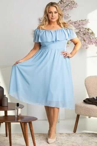 Sukienka na komunie hiszpanka szyfonowa MILANO błękitna