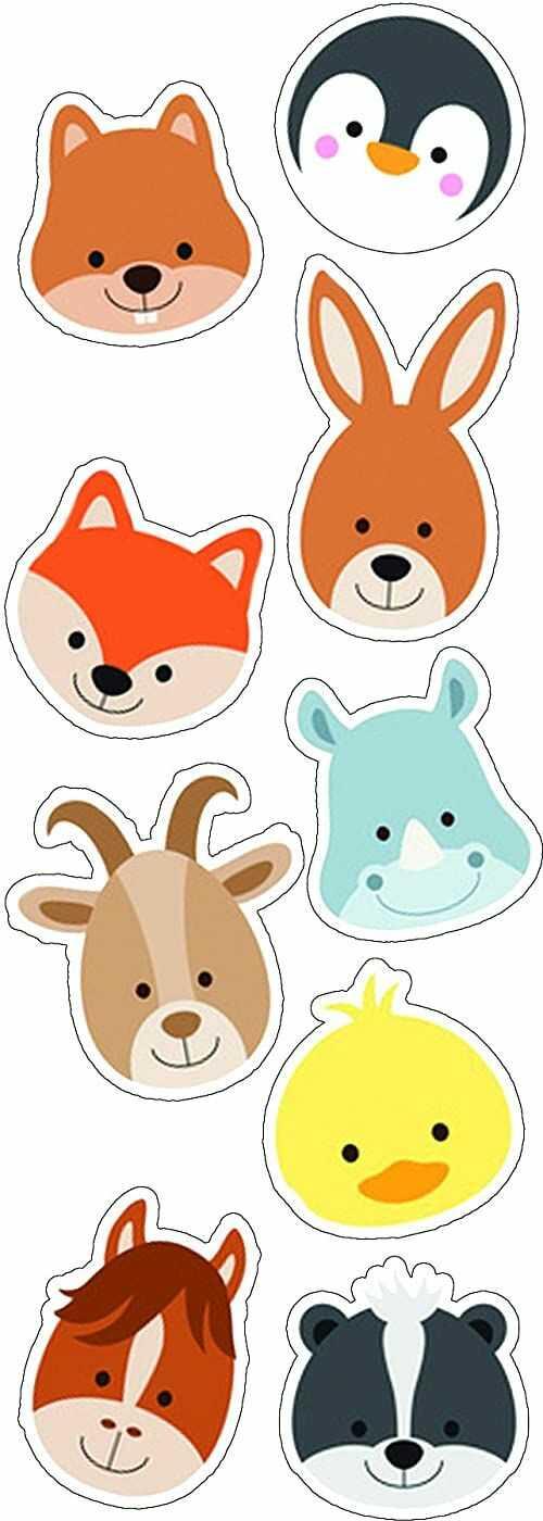 PLAGE dekoracyjna naklejka na ścianę małe zwierzęce główki  dzieci 24 x 68 cm, winyl, kolorowa, 68 x 0,1 x 24 cm