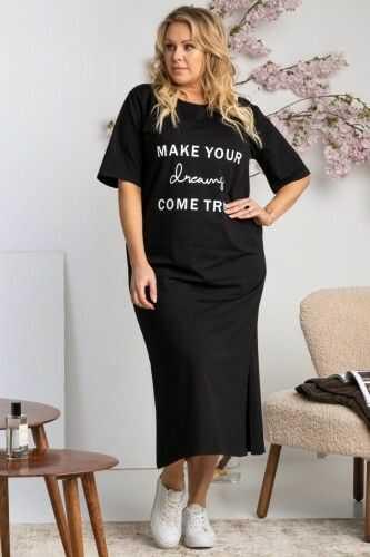Sukienka dresowa z rozcięciem t-shirtowa oversize AMELKA czarna