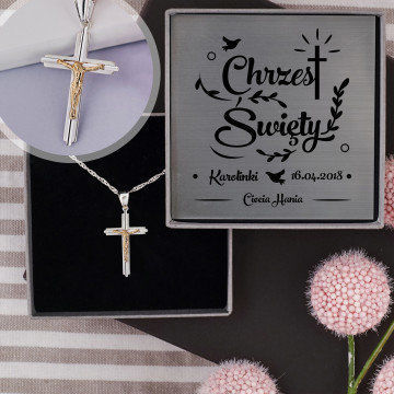 Chrzest - Krzyżyk diamentowany: Srebrny medalik z łańcuszkiem