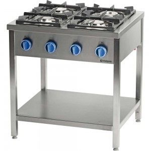 Kuchnia gazowa wolnostojąca 4-palnikowa z półką 24 kW G20 Stalgast 979531