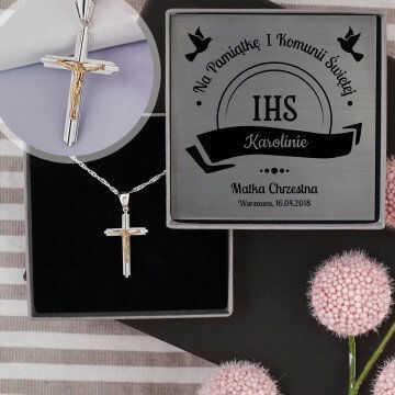 Komunia - Krzyżyk diamentowany: Srebrny medalik z łańcuszkiem