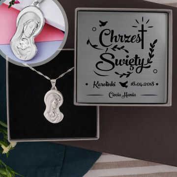Chrzest - Madonna: Srebrny medalik z łańcuszkiem