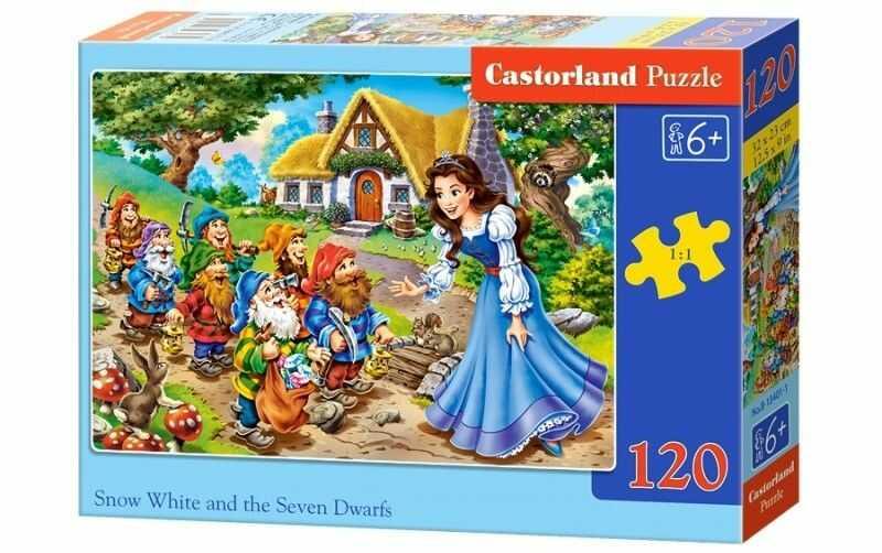 Puzzle Castor 120 - Królewna Śnieżka i krasnale, Snow White and the Dwarfs