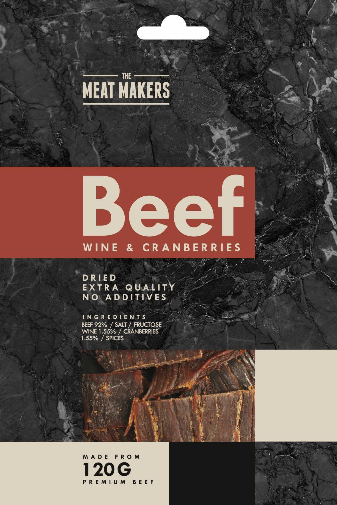 MEAT MAKERS Beef Jerky Wine & Cranberries 40 g wino - żurawina ODŻYWKI TANIO, NATYCHMIASTOWA WYSYŁKA !
