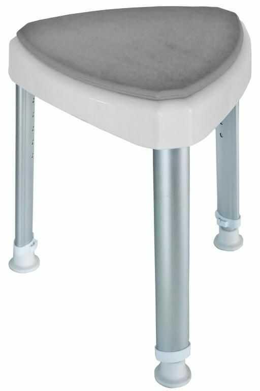 Krzesło prysznicowe narożne białe z miękkim siedziskiem