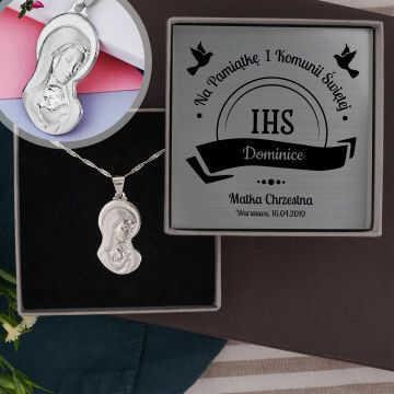 Komunia - Madonna: Srebrny medalik z łańcuszkiem