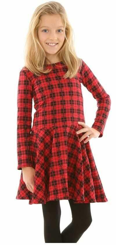 Rozkloszowana sukienka w kratkę 116-152 KRP316 czerwono-czarna
