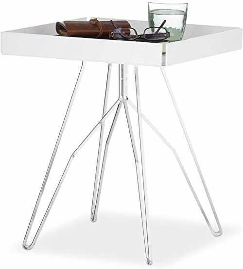 Relaxdays, biały/srebrny stolik pomocniczy, akrylowy, kwadratowa półka, stół do salonu, stelaż stalowy, wys. x szer. 47 x 39,5 x 40,5 cm, 47 x 39 cm