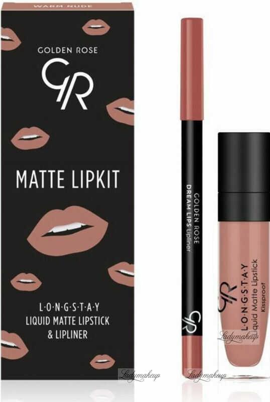 Golden Rose - MATTE LIPKIT - Zestaw do makijażu ust - Pomadka LONGSTAY + konturówka - WARM NUDE