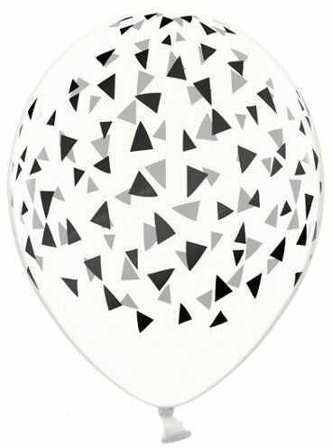 Przezroczyste balony w czarne trójkąty 30cm 50 sztuk SB14C-209-099B-50x