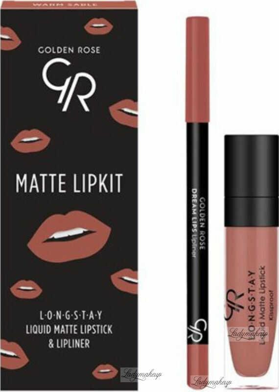 Golden Rose - MATTE LIPKIT - Zestaw do makijażu ust - Pomadka LONGSTAY + konturówka - WARM SABLE