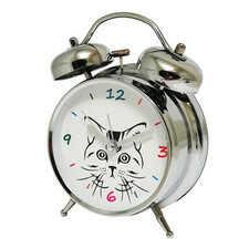 Super cichy budzik metalowy z dzwonkami #kot