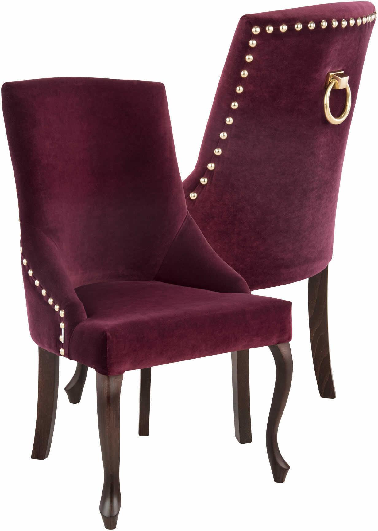 Krzesło Alexis 3 z pinezkami i kołatką, nogi Ludwik, stylowe, ozdobne, w stylu glamour, do jadalni, do kawiarni, do restauracji, do toaletki