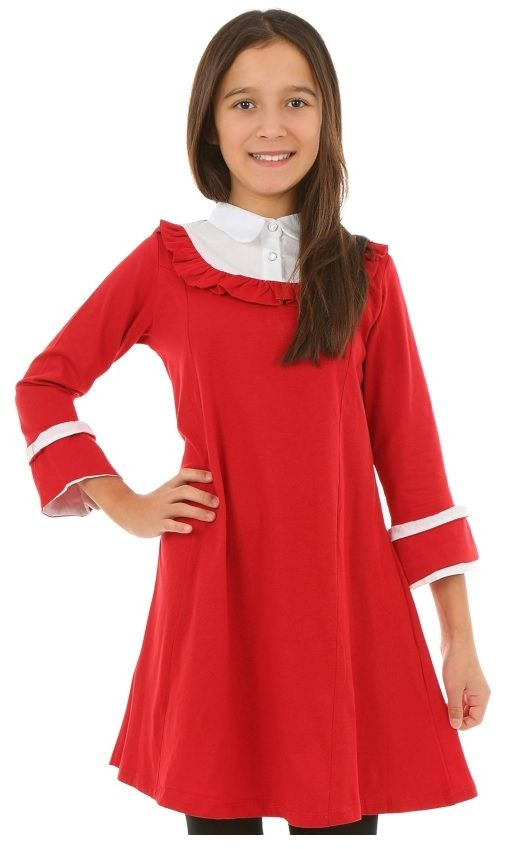 Rozkloszowana sukienka dla dziewczynki 128-158 KRP318 czarwona