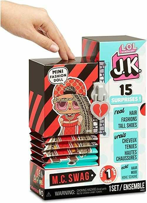 L.O.L. Surprise, J.K.  zestaw 15 niespodzianek, z czego 1 lalka 12 cm, buty maxi, ubrania, akcesoria, zaskakiwanie wody, modele losowo do kolekcjonowania, zabawka dla dzieci od 3 lat, LLUF2
