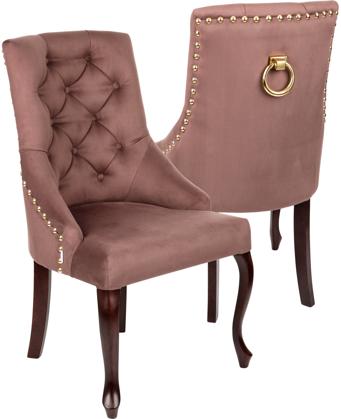 Krzesło Sisi 3 z pinezkami i kołatką, nogi Ludwik, stylowe, ozdobne, eleganckie, do jadalni, do kawiarni, do restauracji