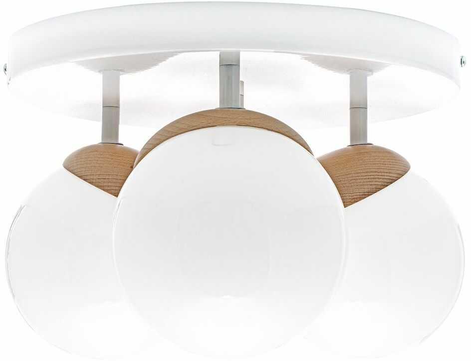 Milagro SFERA WOOD MLP5429 plafon lampa sufitowa biały klosze kule szkło 3xE14 35cm