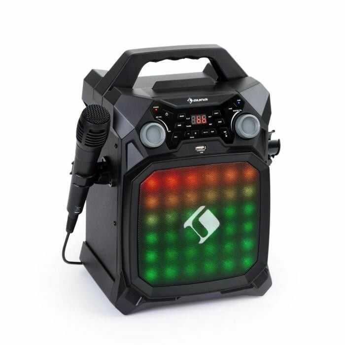 Auna Rockstar LightShow, sprzęt karaoke, bluetooth, USB, Line-In/Out, 2 x 6,3mm, czarny