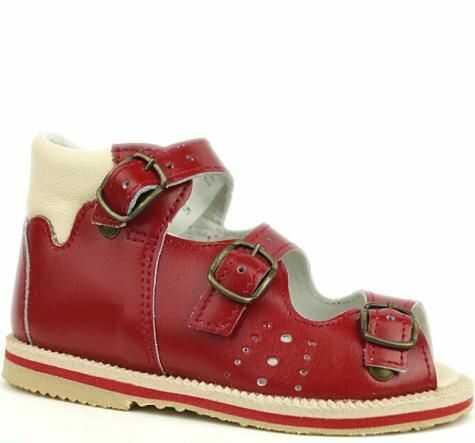 POSTĘP sandały profilaktyczne z obcasem Thomasa BS 29/M/d/2 czerwony