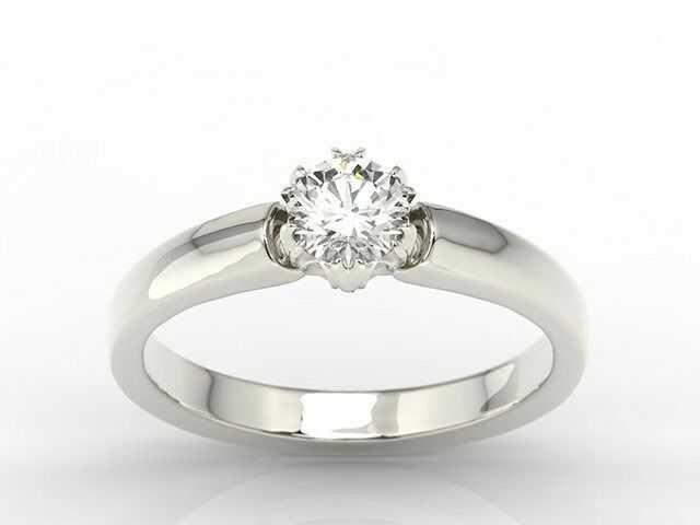 Pierścionek zaręczynowy z białego złota z brylantem bp-2130b - białe diament