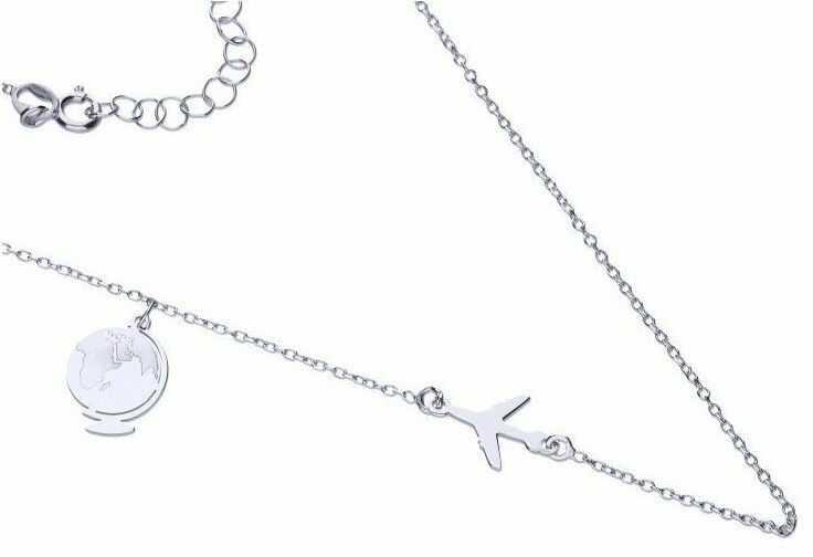 Elegancki rodowany srebrny naszyjnik gwiazd celebrytka globus samolot plane srebro 925 CEL295NRH