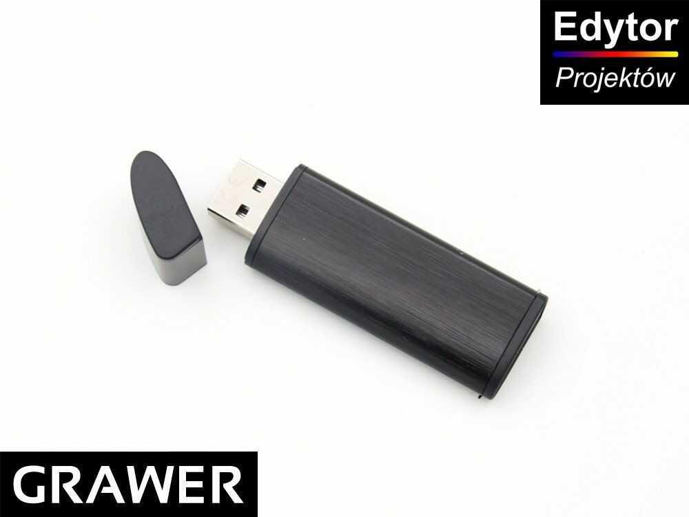 Pendrive czarno-czarny 32 GB Pamięć USB prezent z Grawerem