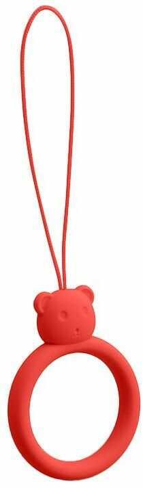 Silikonowa smycz do telefonu zawieszka miś niedźwiadek ring na palec czerwony