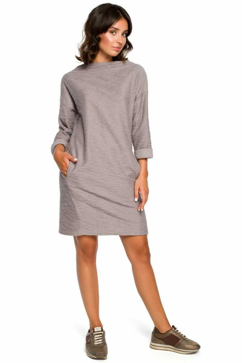 B096 Sukienka z kieszeniami na przodzie - szara