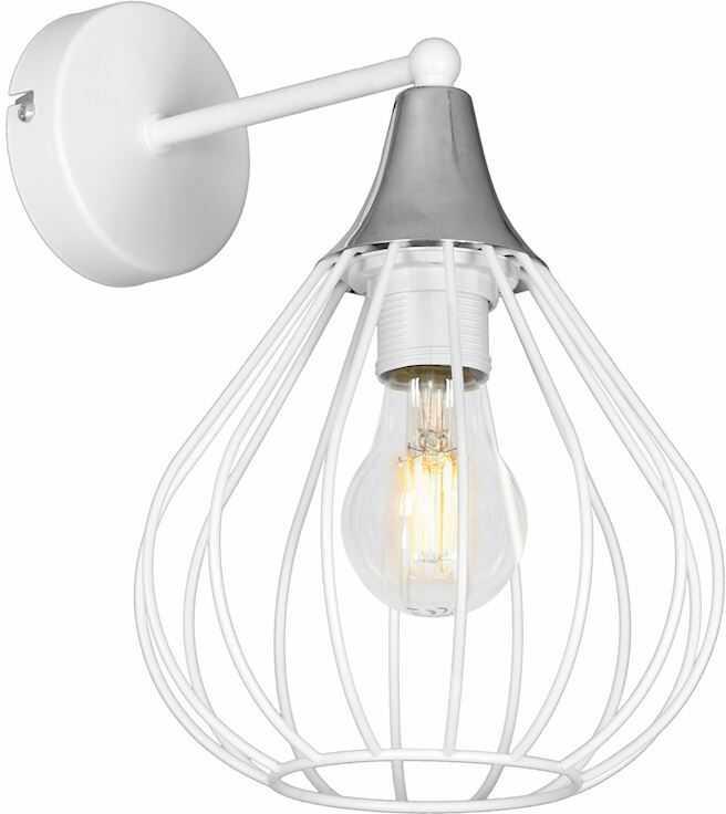 Milagro KANE WHITE MLP4798 kinkiet lampa ścienna biały klosz ażurowy styl loftowy 1xE27 20cm