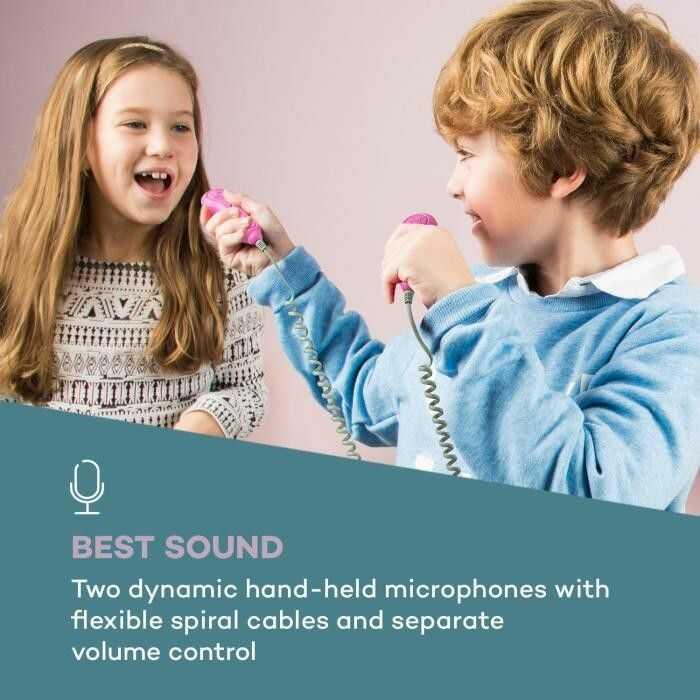 Auna Pocket Rocker BT, odtwarzacz karaoke BT, port USB, MP3, 2x micro, kolor różowy