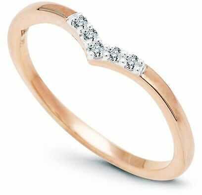 Staviori pierścionek. 5 diamentów, szlif brylantowy, masa 0,05 ct., barwa h, czystość i1. różowe złoto 0,585.