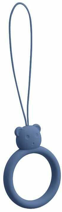 Silikonowa smycz do telefonu zawieszka miś niedźwiadek ring na palec ciemnoniebieski