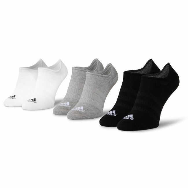 Zestaw 3 par niskich skarpet unisex adidas - Light Nosh 3PP DZ9414 Mgreyh/White/Black