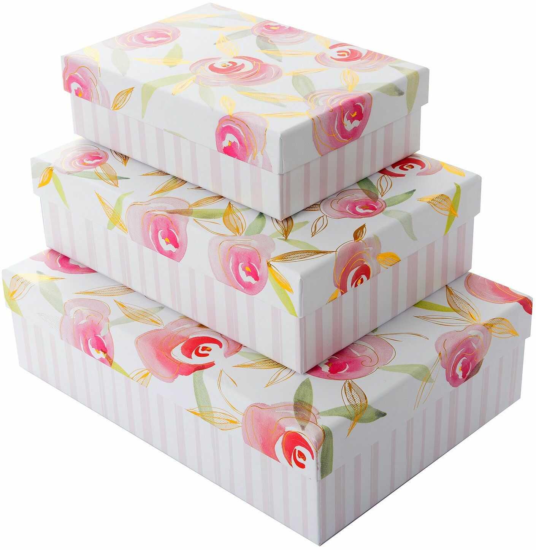 goldbuch 85763 Garden of Love zestaw 3 pudełek do przechowywania w stylu turnowsky, pudełka prezentowe z pokrywką w 3 różnych rozmiarach, druk artystyczny z motywem róż, złoty tłoczenie i relief